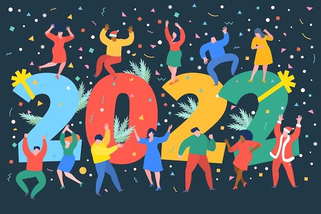 新年会のコンセプトビジネスマンは2022年の数字の隣で踊る