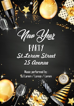New year party design template with new year party elements