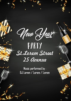 New year party design template with party elements