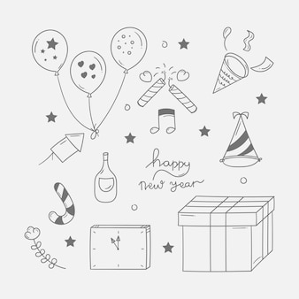 New year party doodle background in hand drawn