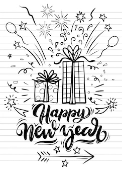 New year party doodle elements in black isolated over background