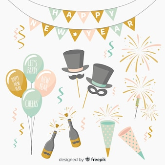 New year party element collection in flat design