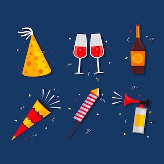 Collezione di elementi di festa di capodanno in design piatto