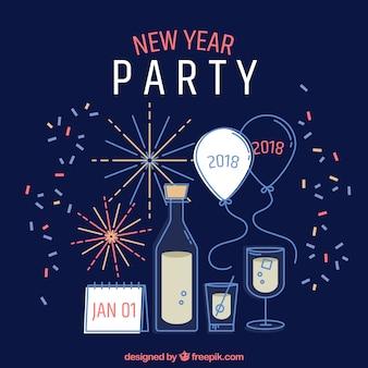 Sfondo di elementi del partito di nuovo anno