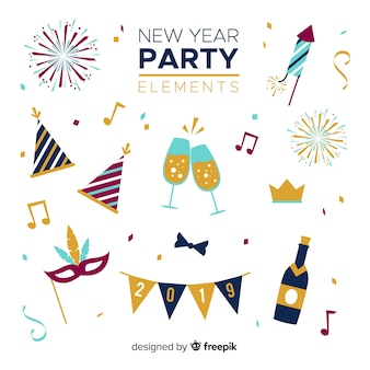 New year party elements set
