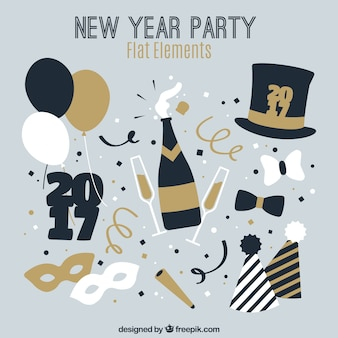 New year party elements in vintage style