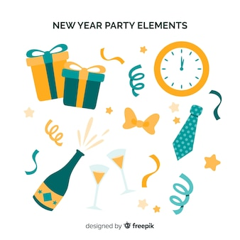 New year party flat elements collection