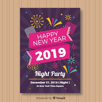 New year party flat poster