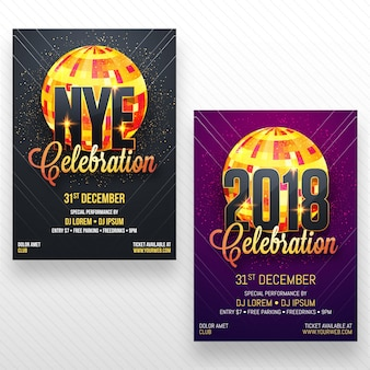 New year party flyer, banner or poster design in two color options.