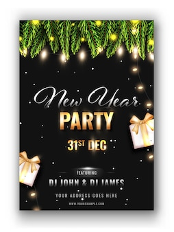 New year party flyer design in black color with event details