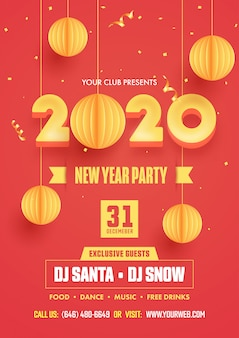 New year party flyer design with 3d yellow 2020 text and hanging paper cut baubles decorated on red background.