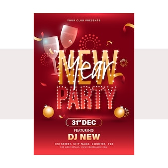 Дизайн флаера новогодней вечеринки с бокалами на красном фоне