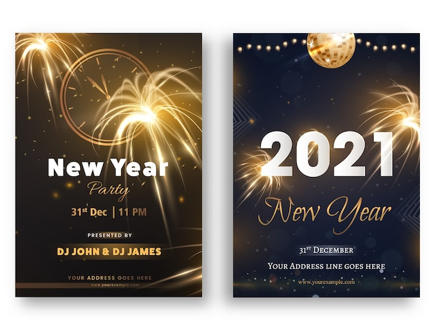 New year party flyer or invitation card set with event details
