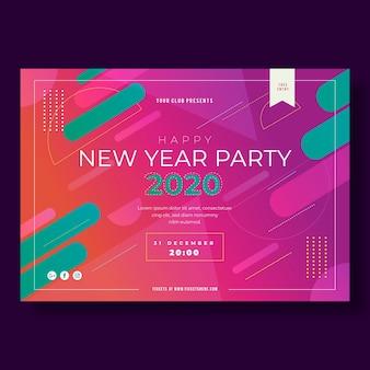 Новый год флаер шаблон в плоском дизайне