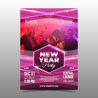 New year party flyer template with image