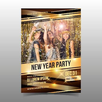New year party flyer template with photo