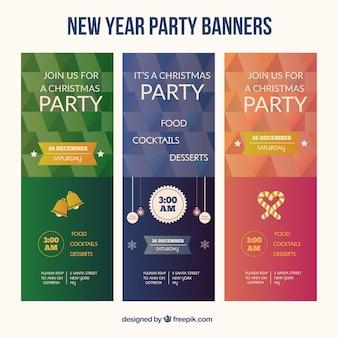 Новый год партия геометрической формы баннер