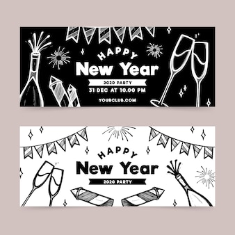 New year party hand-drawn banners