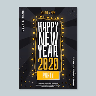 New year party hand-drawn poster template