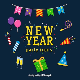 New year party icons collection