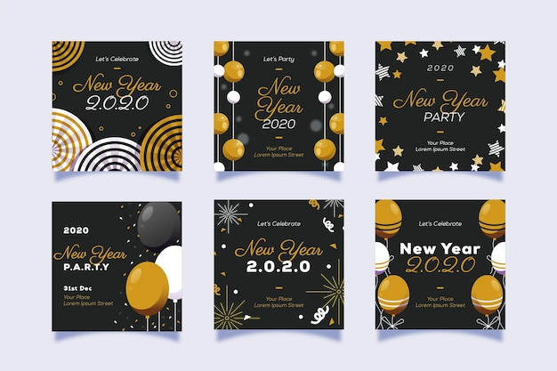 New year party instagram story set