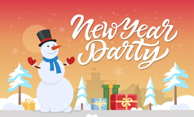 New year party - modern cartoon characters illustration with hand drawn brush pen lettering. happy snowman standing with presents in a winter forest. perfect as card, invitation, poster, banner