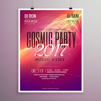 New year party poster 2017 with abstract shapes