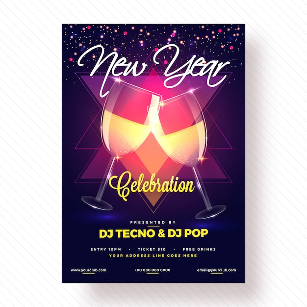 New year party poster, banner or flyer design.