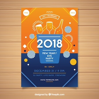 New year party poster in orange and dark blue