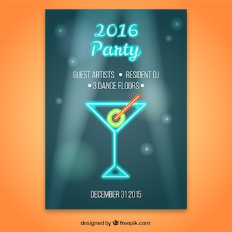 New year party poster in neon style