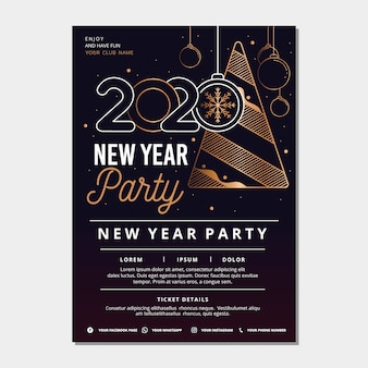 New year party poster template in outline style