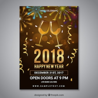 New year party poster template with champagne glasses