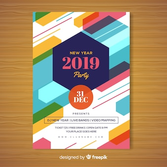 New year party poster template with geometric shapes