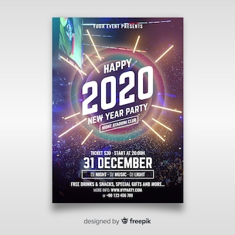 New year party poster template with photo