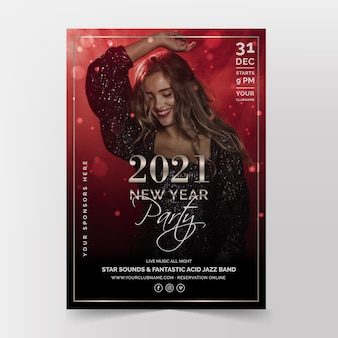 New year party poster template