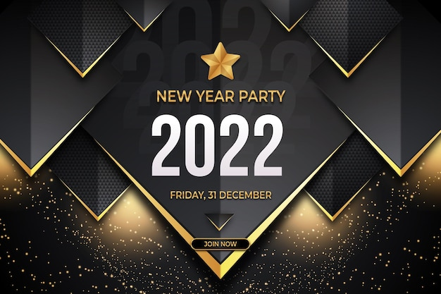 New year party  poster with black gold backround style