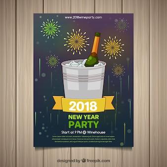 Il manifesto del partito del nuovo anno con una bottiglia di champagne in un secchiello del ghiaccio