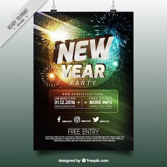 New year party poster with disco ball