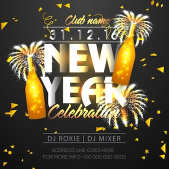 New year party poster with golden bottles and confetti