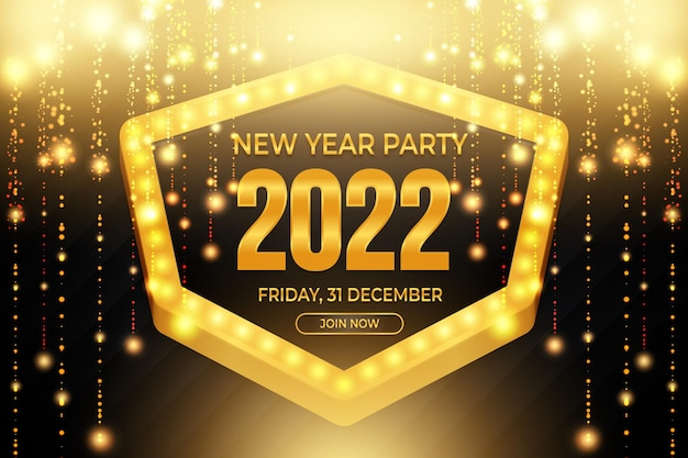 New year party poster with golden particles backround style