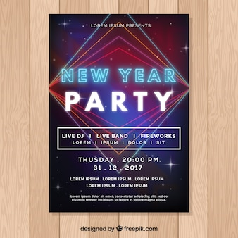 New year party poster with neon letters