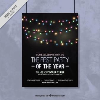 文字列のライトが付いている新年のパーティーのポスター