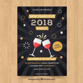 New year party poster with wine glasses and fireworks