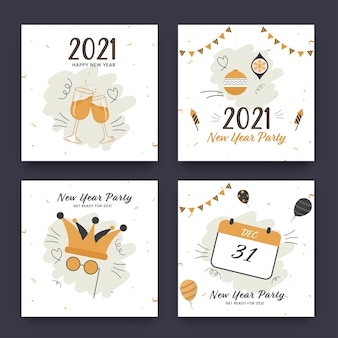 New year party posts layout in four options