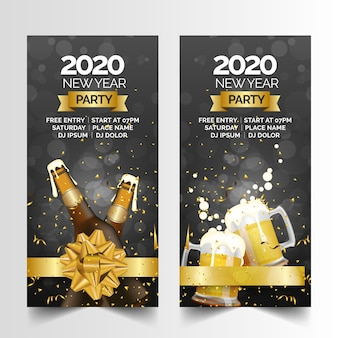 New year party realistic banners