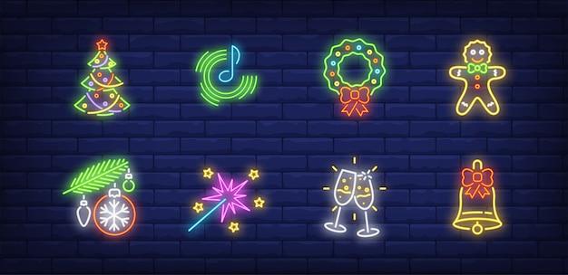 Символы новогодней вечеринки в неоновом стиле