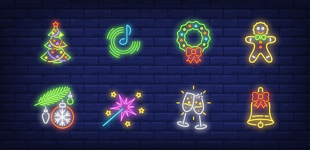 Simboli di festa di capodanno impostati in stile neon