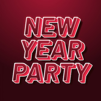 New year party text style effect
