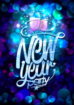 New year party  with two champagne glasses and multicolored confetti backdrop Premium Vector