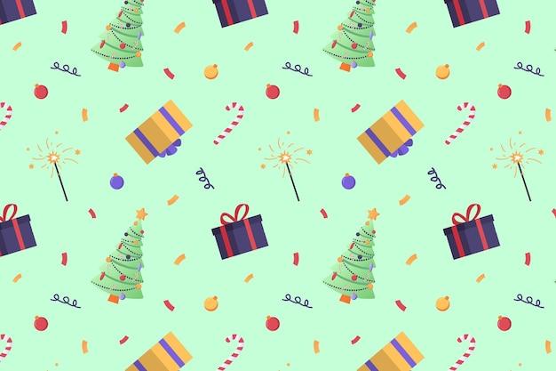 Новогодний узор с конфетти елки представляет бенгальские огни леденцы на палочке и воздушные шары
